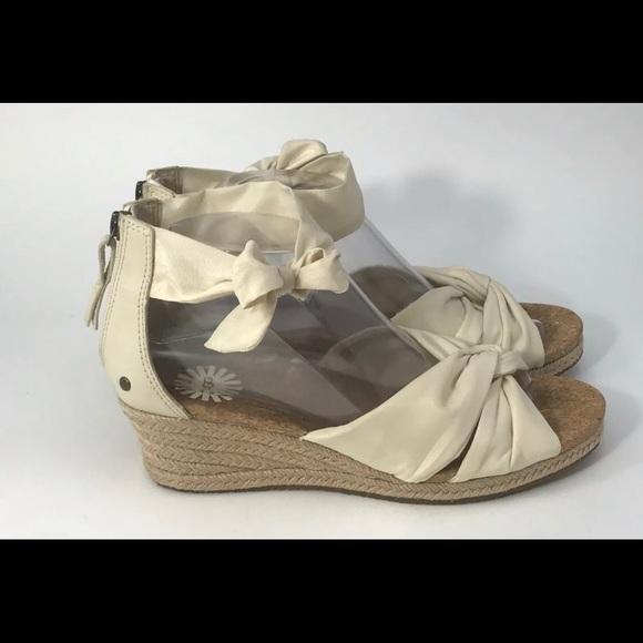 4704122ebe1 UGG Traci Wedge Cream Canvas Espadrille Sandal 9